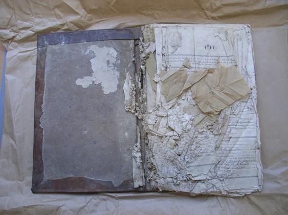 Mould damaged parish register