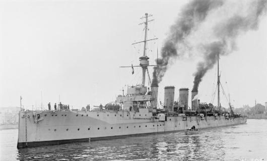 Image of HMS Gloucester, in Italy, in 1917, courtesy of Imperial War Museum