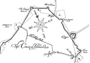 D12862, Manuscript plan of the city of Gloucester, 1600s.