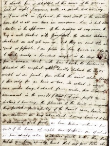 Picture of a letter from Daniel Watkins, describing life in Port Lincoln