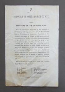 Photograph of notice of corrupt practices.