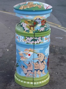 Litterbin painted to show Scotland v Japan