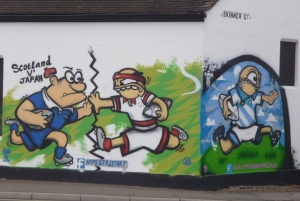 Painting of Japan v Scotland on Skinner Street