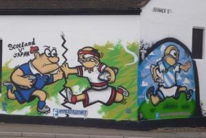 Painting of Japan v Scotland on Skinner Street