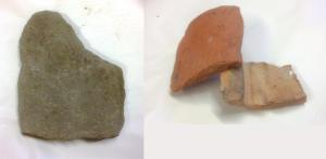 Roman roof tiles: Sandstone (L); Imbrex and tegula (R)