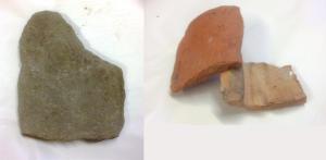 Roman roof tiles: Sandstone (L); Imbrex and tegula (R)