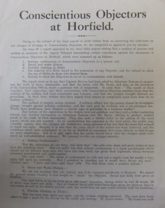Poster about conciensious objectors at Horfield