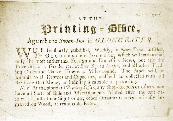 Notice of publication of the Gloucester Journal