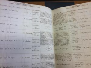 Photograph of calendar of prisoners held in Gloucester gaol awaiting trial