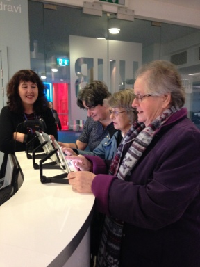 Heather, Maureen and Liz signing in at the University of Gloucestershire hub