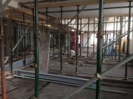 View from former locker room into the research room under refurbishment