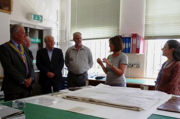 (Left to Right) The Mayor of Gloucester Cllr Steve Morgan; Friends of Gloucestershire Archives Stephen Haygarth, Clive Andrews and John Williams; Collections Leader Julie Courtenay; and Collections Care Conservator Rachel Wales