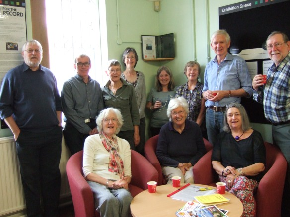 Photograph of Cheltenham Local History Society volunteers at Gloucestershire Archives, July 2016