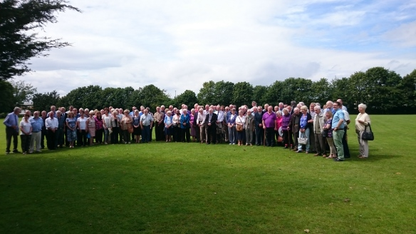Photograph of Ex-Fielding and Platt staff at a 150th anniversary reunion at Wall's Club in 2016