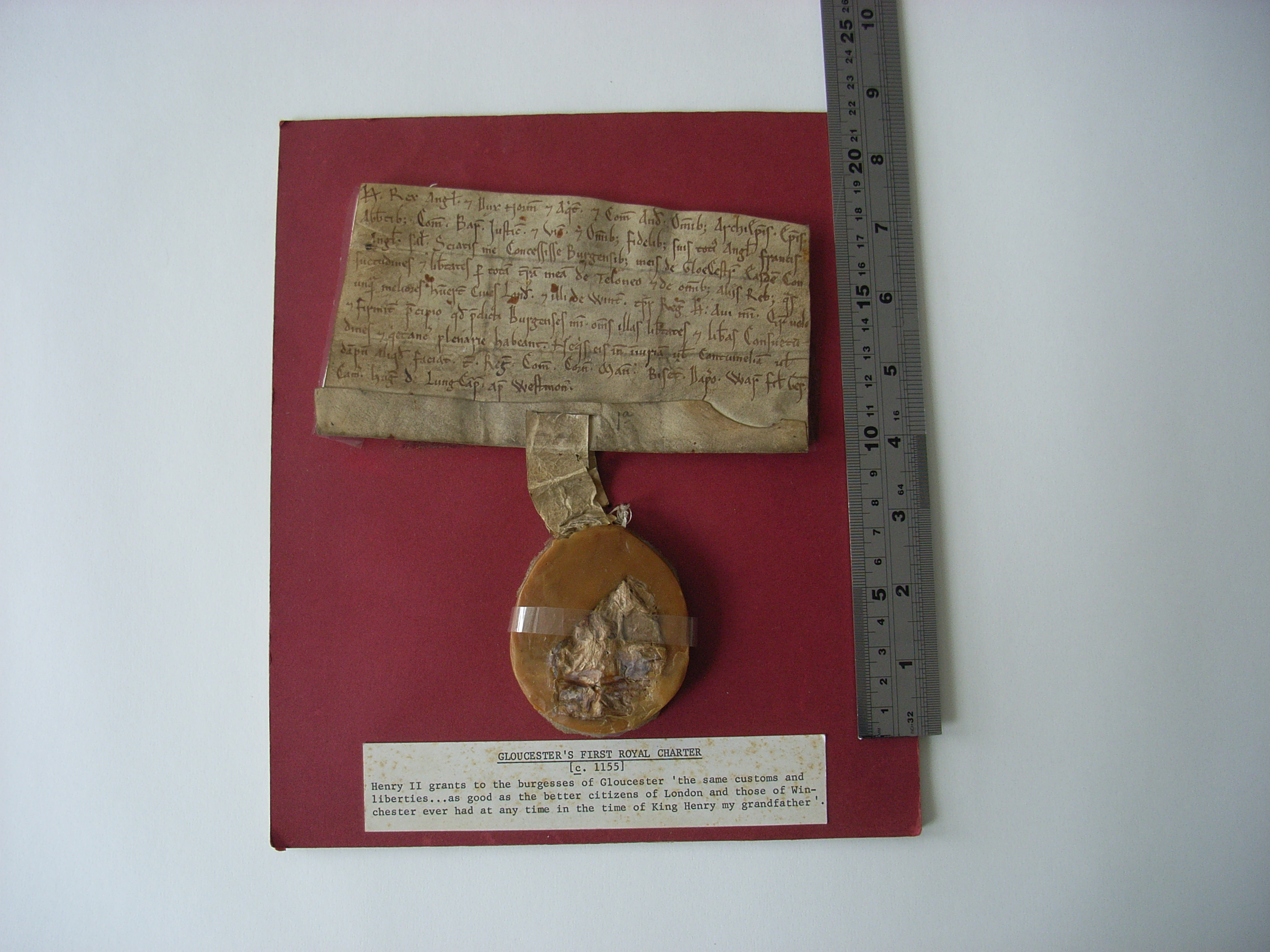 Image of Gloucester's first royal charter, from the time of Henry II (c.1155)