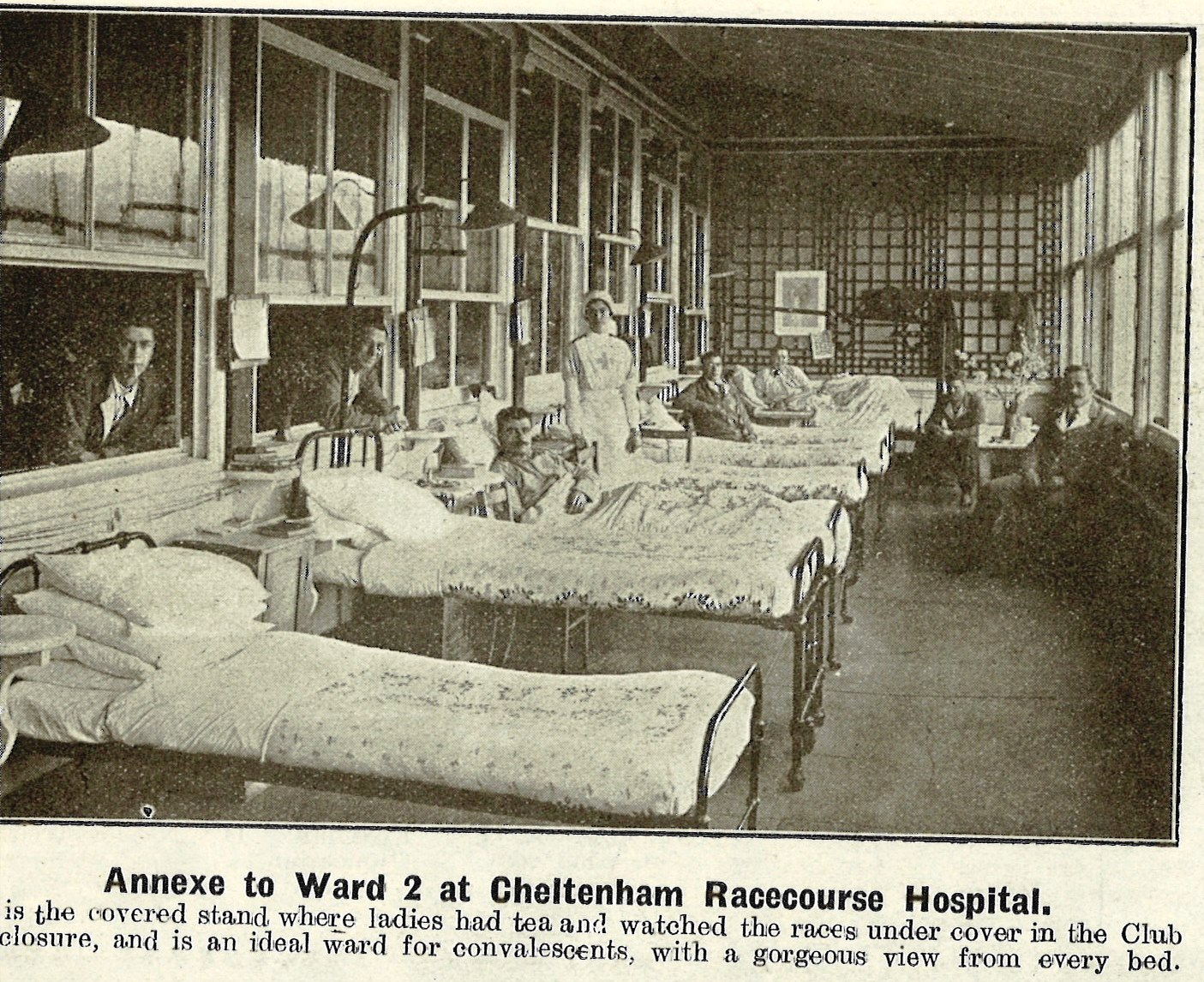 An image appearing in the Cheltenham Chronicle and Gloucester Graphic for Saturday 16 March. When the racecourse should have been celebrating the annual National Hunt festival, it was instead being used as a VAD Hospital.