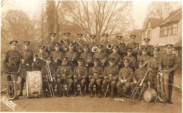 Postcard of The 2nd/5th Battalion Gloucester Regiment Band in 1915. Gurney is in the rear rank, fourth from right.