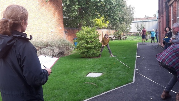 Image of Cotswold Gardening School students measuring the garden