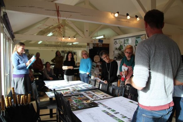 Image of Cotswold Gardening School students presenting their designs to Heritage Hub staff