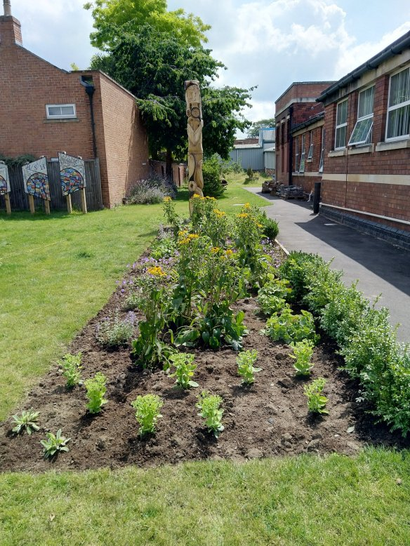 Image of One of the borders, the day after planting.
